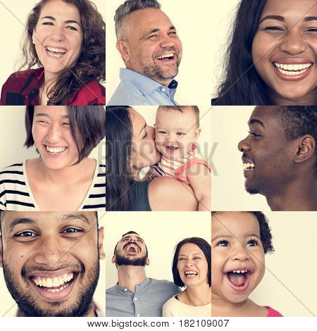 Set of Diversity People Laughing Face Expression Studio Collage