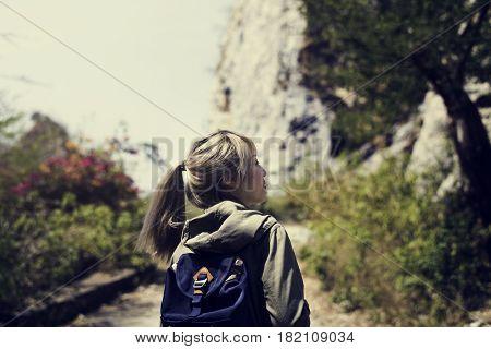 Backpack Women Traveler Journey Rock Mountain