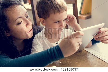 Mom Son Spend Time Holiday Togetherness