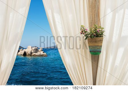 view from curtain on the sea, Turkey