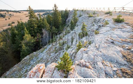 Ridge in early morning light above Lost Water Canyon in the Pryor Mountains Wild Horse Range in Wyoming USA