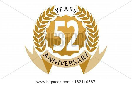 This vector describe about 52 Years Ribbon Anniversary