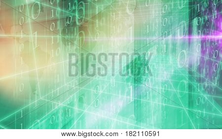 Digital binary code 3D space background suitable for website and graphical banners. 3d render 3d illustration