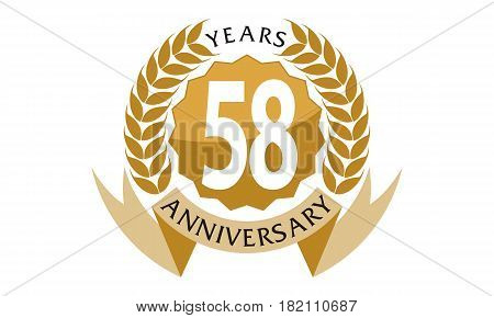 This vector describe about 58 Years Ribbon Anniversary poster