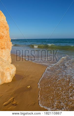 beautiful beach at Albufeira, Algarve, the south of portugal