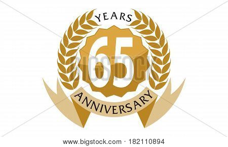 This vector describe about 65 Years Ribbon Anniversary