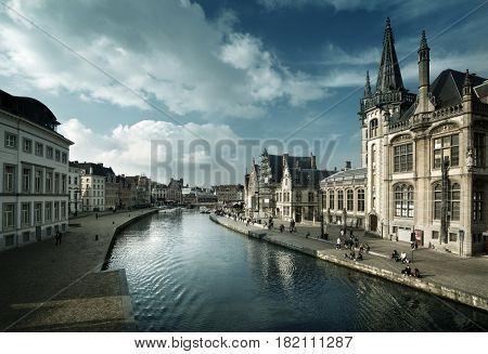 Leie river in Ghent town, Belgium