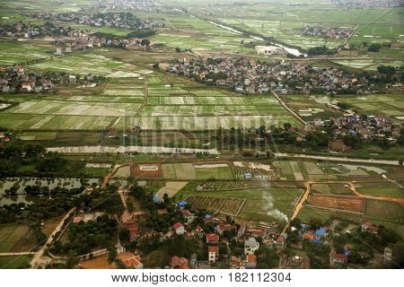 Vietnamese town from above (aerial, town, view)