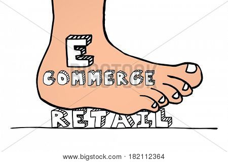 Ecommerce Vs Retail Foot Stomping Word Winning Business Model 3d Illustration