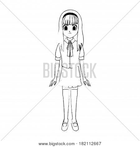 cute young girl with long straight hair anime or manga icon image vector illustration design