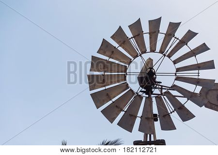 Close-up of a windmil and blue sky.