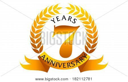 7 Years Ribbon Anniversary Congratulation Golden Elegant