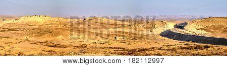 Road in Negev desert. Panoramic view. Israel.