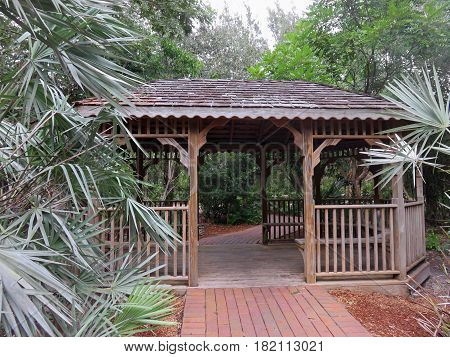 Gazebo located along one of the many trails in Sanibel Florida