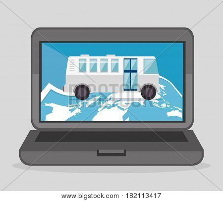 laptop computer with bus device icon vector illustration design