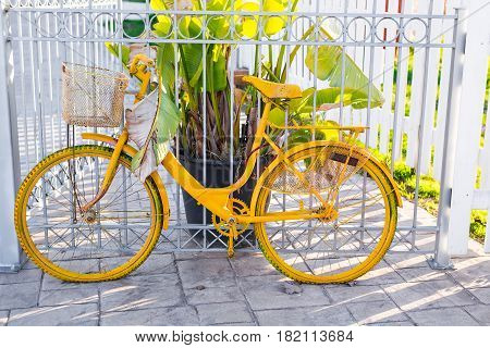 Vintage Bicycle on summer. Old shabby bike