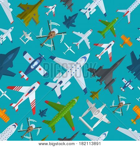 Color airplanes, helicopters icons top view vector illustration isolated. Travel by air flight vacation transport passenger plane. Turbine voyage pilot jet. Seamless pattern