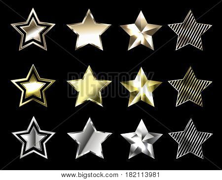 Stars of precious metals on black background
