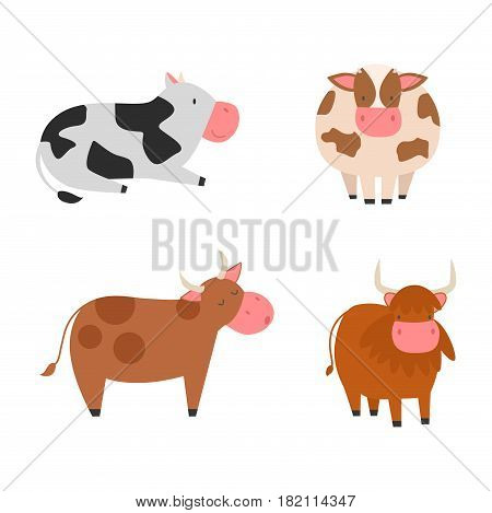 Set of bulls and cows farm animal character vector illustration. Cattle mammal nature wild beef agriculture. Domestic funny rural bovine horned cartoon buffalo.