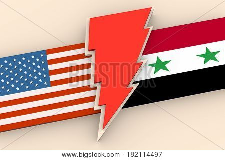 Image relative to politic situation between USA and Syria. National flags divided by red lighting. 3D rendering
