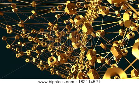 Molecule And Communication Background. Brochure or web banner design. Lines and nuts. Technology, chemistry, science relative. Shallow depth of field. 3D rendering. Metallic material
