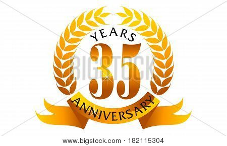 This vector describe about 35 Years Ribbon Anniversary