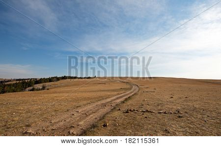 Dirt Road On Tillett Ridge In The Pryor Mountains Wild Horse Range In Wyoming Usa