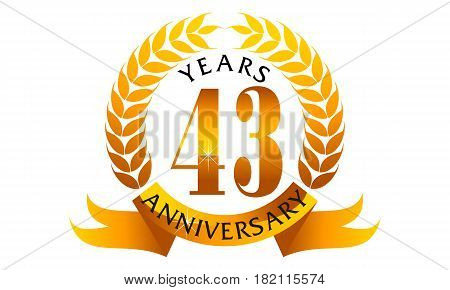 This vector describe about 43 Years Ribbon Anniversary
