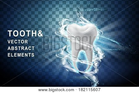 tooth model perfectly washed by surrounding water flow 3d illustration