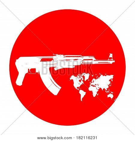Machine on a red background. Terrorists and a ban on weapons. A symbol of war and world map icon. Vector illustration on white.