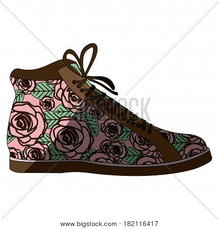 colorful silhouette of boot with shoelaces and floral decoration with middle shadow vector illustration