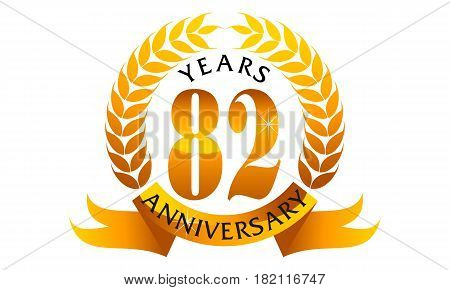 This Vector describe about 82 Years Ribbon Anniversary