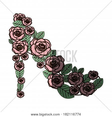 colorful silhouette of high heel shoe formed by roses with middle shadow vector illustration