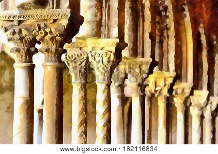Colorful painting of Cloister of Monreale Cathedral, Monreale, Sicily, Italy
