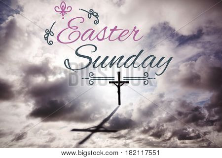 Easter message against crucifix on the horizon