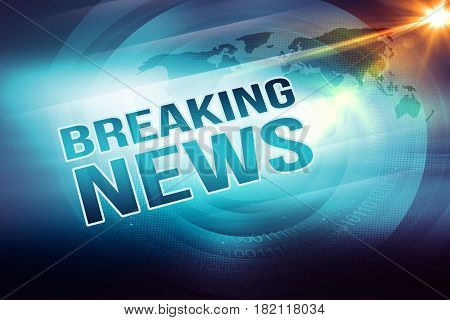 Graphical breaking news outline text with lens flare at right edge background. 3d Illustration 3d Render