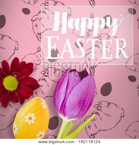 Easter greeting against picture of a flower