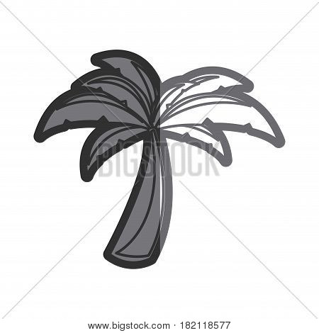 gray thick contour of palm tree vector illustration