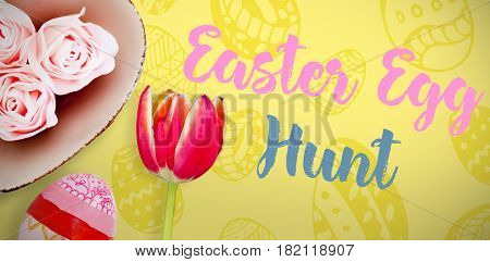 painted easter eggs on white background