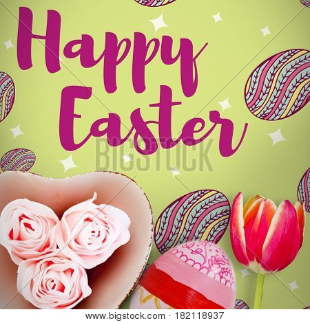 Easter greeting against painted easter eggs on white background