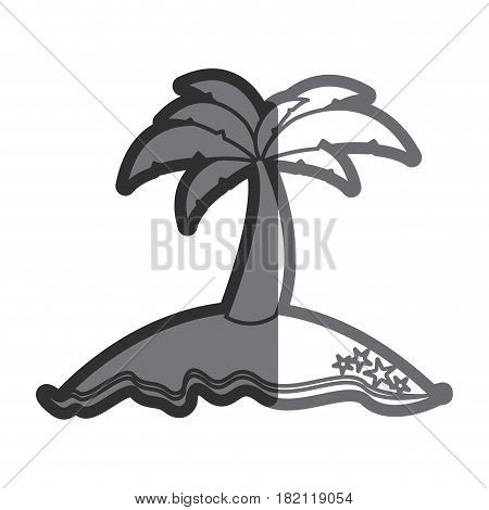 gray thick contour of island with palm tree vector illustration