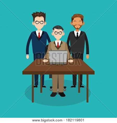people with computer icon over blue background. human resources concept. colorful design. vector illustration