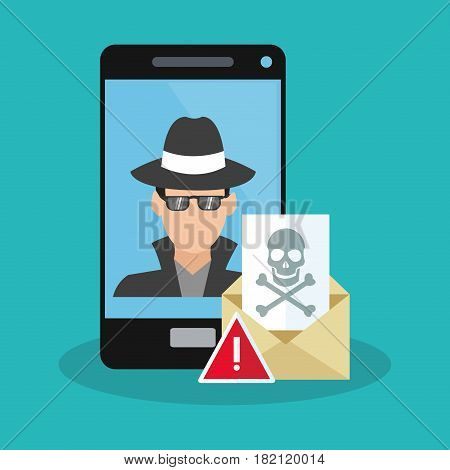 smartphone with hacker man icon over blue background. colorful design. vector illustration