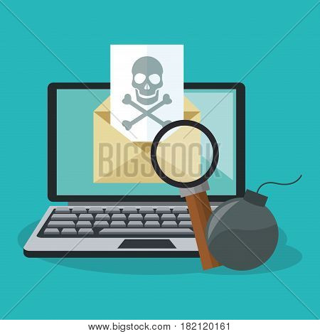 computer with cyber secuirty related icons over blue background. colorful design. vector illustration