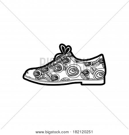 black thick contour of male shoe with floral decoration vector illustration