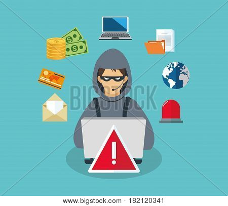 hacker man with cyber security icons around over blue background. colorufl design. vector illustration