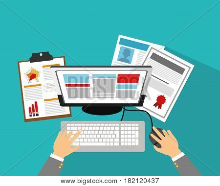 computer and documents and curriculoms vitae over blue background. human resources concept. colorful design. vector illustration