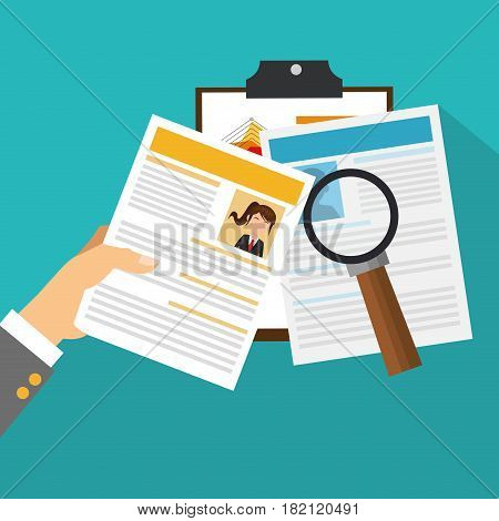 curriculum vitae and human resources related icons over blue background.  colorful design. vector illustration