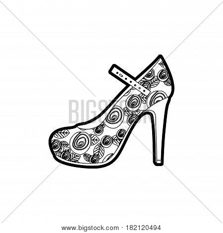 black thick contour of high heel shoe with belt and floral decoration vector illustration