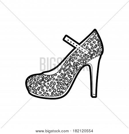 black thick contour of high heel shoe with stain decoration vector illustration
